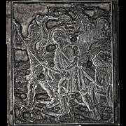 "19th Century Printing Block / Cliché ""Saint with Stigmata"" - Metal"