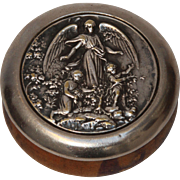 19th Century Snuff Box with Angel and Children - Silver plate & Wood