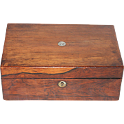 19th Century Jewelry Chest / Box with fine Cherry Wood Veneer, Silk Lining & Mother of Pearl Inlay