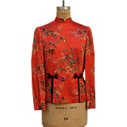 Vintage 1970s Asian Ethnic Orange Crane Flower Blouse