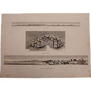 "Antique Birdseye View of Alexandria & Malta + A Site Map of Ruins - Original Copper Engraving from ""Napoleons Travels to Egypt"" (Vivant Denon)  1802"