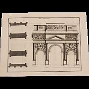 """18th Century Copper Engraving """"Triumphal Arch of Orange"""" from L'antiquité expliquée et représentée en figures by Bernard de Montfaucon"""