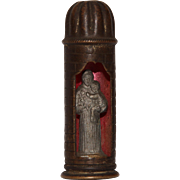 19th Century Miniature Shrine with St. Anthony of Padua & Baby Jesus- Pewter & Metal
