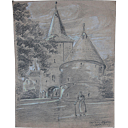 1920's Original Art Nouveau Pencil & Watercolor Drawing of Town Gate Scene in Goslar by Franz Brantzky