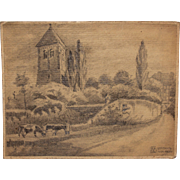 1920's Original Art Nouveau Pencil Drawing of Uckerath, Germany by Franz Brantzky
