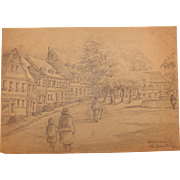 1920's Original Art Nouveau Pencil Drawing of Hadamar, Germany by Franz Brantzky