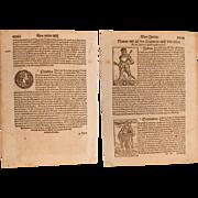 16th Century Woodcuts of the Roman Emperors Julius Caesar, Augustus & Claudius - Book page of Cosmographia (Sebastian Münster)