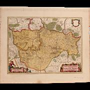 17th Century Map of the Mittelmark in Brandenburg, Germany (F. de Witt)