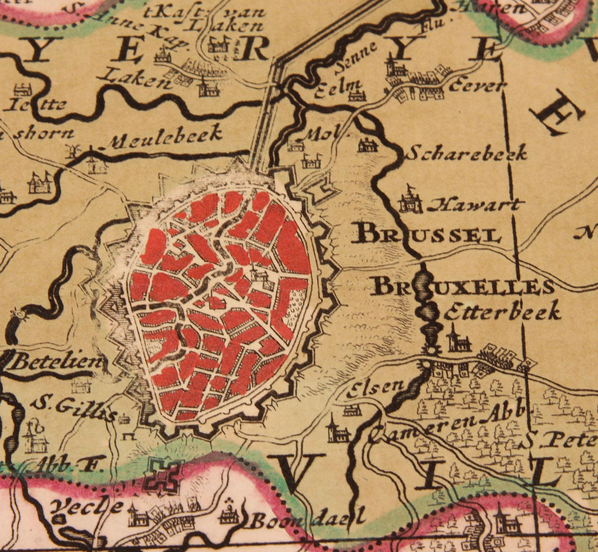 17th Century Antique map of Brussels and the surrounding Area – Map of Belgium and Surrounding Areas