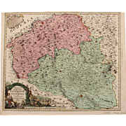 18th century map of the Znaym region of Moravia (Czech Republic) by Johann Baptist HOMANN 1720
