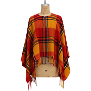 Vintage 1970s Bergdorf Plaid Cape with Fringe