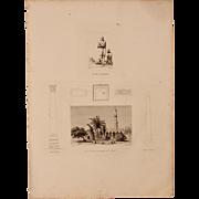 "Antique Print of Saint-Athanase Mosque, Pompey's Pillar, Cleopatra's Needle & an Egyptian Beggar - Original Copper Engraving from ""Napoleons Travels to Egypt"" (Vivant Denon) 1802"