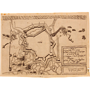 17th Century Map of the Fortification of Ostend (Belgium) during the Siege of Ostend 1601-1604