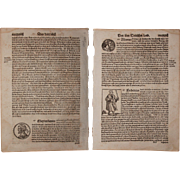 16th Century Woodcut of Emperors of the Holy Roman Empire - Book page of Cosmographia (Sebastian Münster)