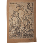 16th Century Original Old Master Woodcut - Saint Eustace (Entourage of Albrecht Dürer)
