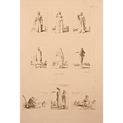 "1802 Original Copper Engraving ""Clothes of Egyptians"" from Napoleons Travels to Egypt (Vivant Denon) Page 10"