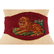 Victorian Needle Point Waist Belt Red Wool & Leather featuring a Lion 19th Century Antique