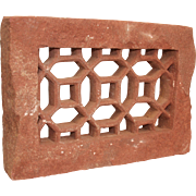 Antique Oriental Jali Screen Window Panel - Red Sandstone / Brownstone  carved and pierced Window Frame