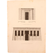 "Antique Print of the portals of the Dendera Temple (Tentyris) complex - Original Copper Engraving from ""Napoleons Travels to Egypt"" (Vivant Denon) 1802"