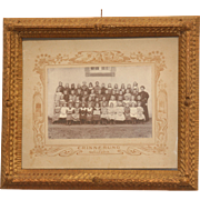 1909 Art Nouveau School Memory Photo in Stunning Hand Made Wood Frame