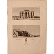 "Antique Print of the Temple of Hermopolis and Egyptian Tombs of Lycopolis - Original Copper Engraving from ""Napoleons Travels to Egypt"" (Vivant Denon) 1802"