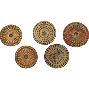 Set of 5 Medieval Buttons from Iberian Peninsula - Bronze & Brass