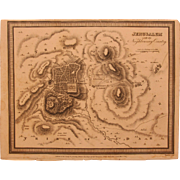 1815 Map of Jerusalem - 19th Century Copper Engraving of Holy City