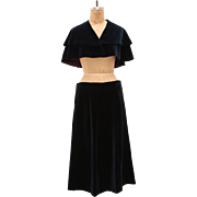 Vintage Velvet Cape and Skirt Set