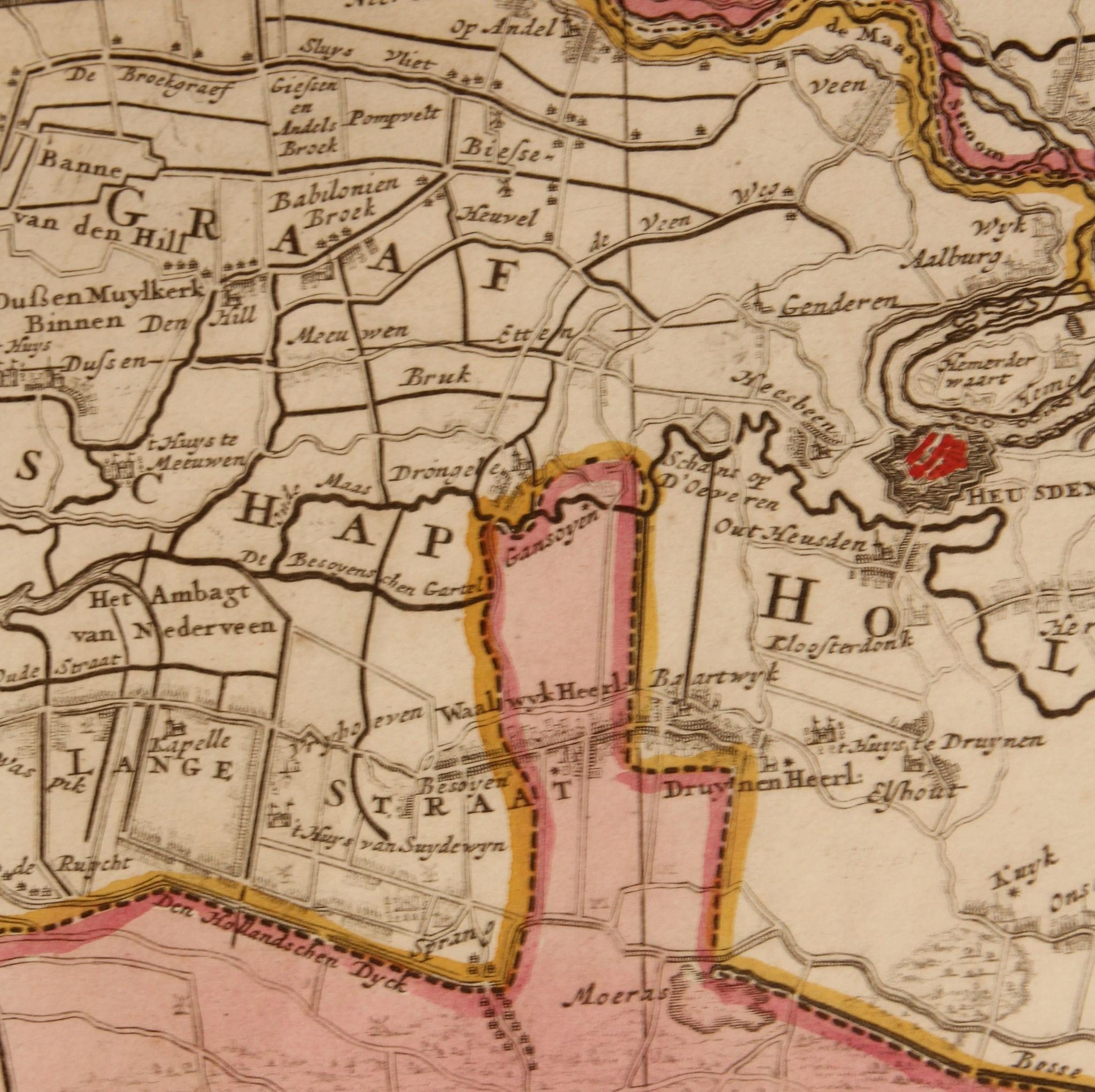 17th Century Antique map of Braban and the surrounding Area from – Map of Belgium and Surrounding Areas