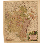 18th Century Map showing the course of the Rhine River including Strasbourg, Cologne and more by Gerard Valk