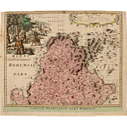 18th century map of the Olomouc Region (Czech Republic) by Johann Baptist HOMANN 1720
