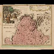 18th century map of the Olomouc Region (Czech Republic) by Johann Baptist HOMANN 1720