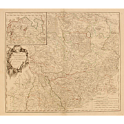18th Century Map showing Westphalia in Germany by Robert de Vaugondy 1751
