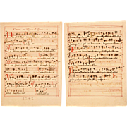 17th Century Illuminated Gregorian Chant Manuscript Page / Sheet Music