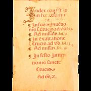 15th century Illuminated Gregorian Chant Manuscript Index Page / Renaissance Sheet Music