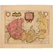 17th Century Map of New March & Uckermark in Brandenburg Germany (OLAUS JOANNIS GOTHUS)