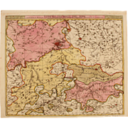 17th Century Antique map of the Liege region of Belgium - by Visscher N. II (1690)