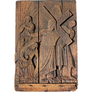 19th Century Wood carved 4th Station of the Cross (Jesus meets his mother)