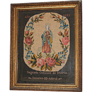 Victorian Needle Point Sampler - Sacred Heart of Mary - Handmade 19th Century Spanish Needlework Madonna