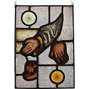 """Sacred Hands"" Stained Glass Panel with original 18th Century Baroque Fragments from the Church in Belecke Germany"