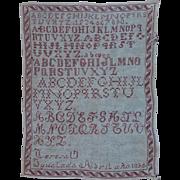 Antique 1895 Needle Work Sampler from Spain - 19th Century Needlepoint Alphabet