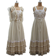 1970s Empire waist pleated maxi dress with flower applique / Bohemian Wedding /Party Dress