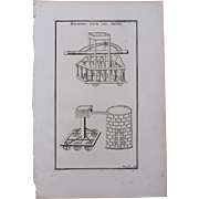 18th Century Copper Engraving of Ancient Machines for Sieges from L'antiquité expliquée et représentée en figures by Bernard de Montfaucon