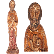 SALE 14th-15th Century Sculpture of Jesus Christ - Gothic / Romantic Wood Carved Polychrome ...