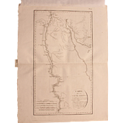 "1802 Original Copper Engraving Map of Upper Egypt from ""Napoleons Travels to Egypt"" (Vivant Denon) Page 140"