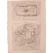 1802 Original Site Plan / Map of the Temple of Isis by Beibeth & the Ruins of Sann- Copper Engraving from Napoleons Travels to Egypt (Vivant Denon) Page 17