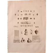 "Antique Print of Ancient Egyptian artifacts including Phallus and other Statues  - Original Copper Engraving from ""Napoleons Travels to Egypt"" (Vivant Denon) 1802"