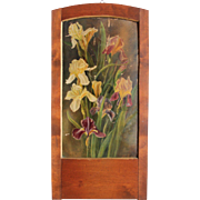 "Art Nouveau Oil Painting ""Bearded Irises"" in beautiful wood frame"