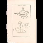 18th Century Copper Engraving of Ancient War Machines from L'antiquité expliquée et représentée en figures by Bernard de Montfaucon
