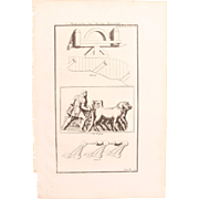 18th Century Copper Engraving of Ancient Machines from L'antiquité expliquée et représentée en figures by Bernard de Montfaucon